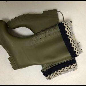 J Crew Wellie Sweater-cuffed Rain Boots 10